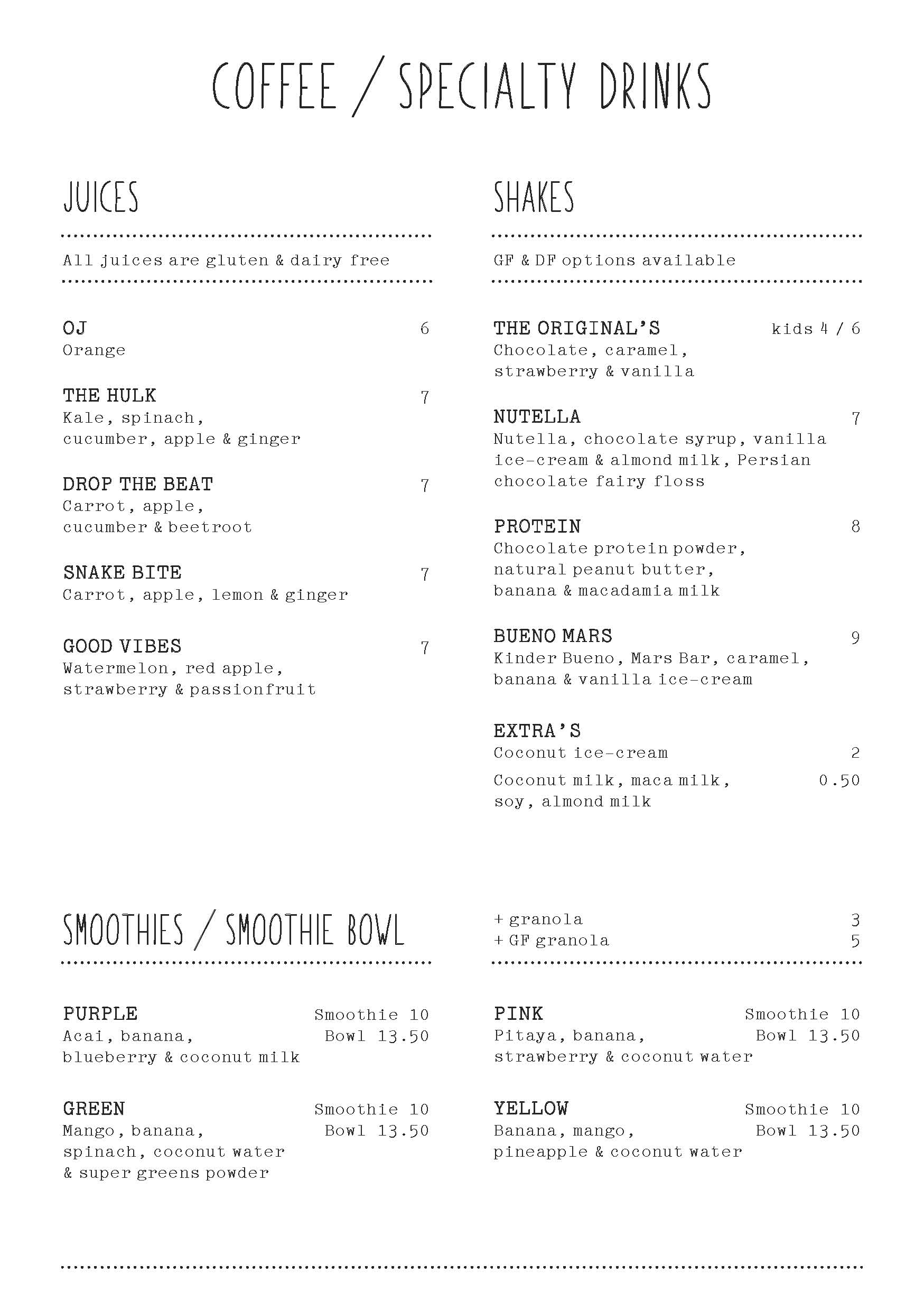 Home Specialty Coffee Menu April 2018 Page 2