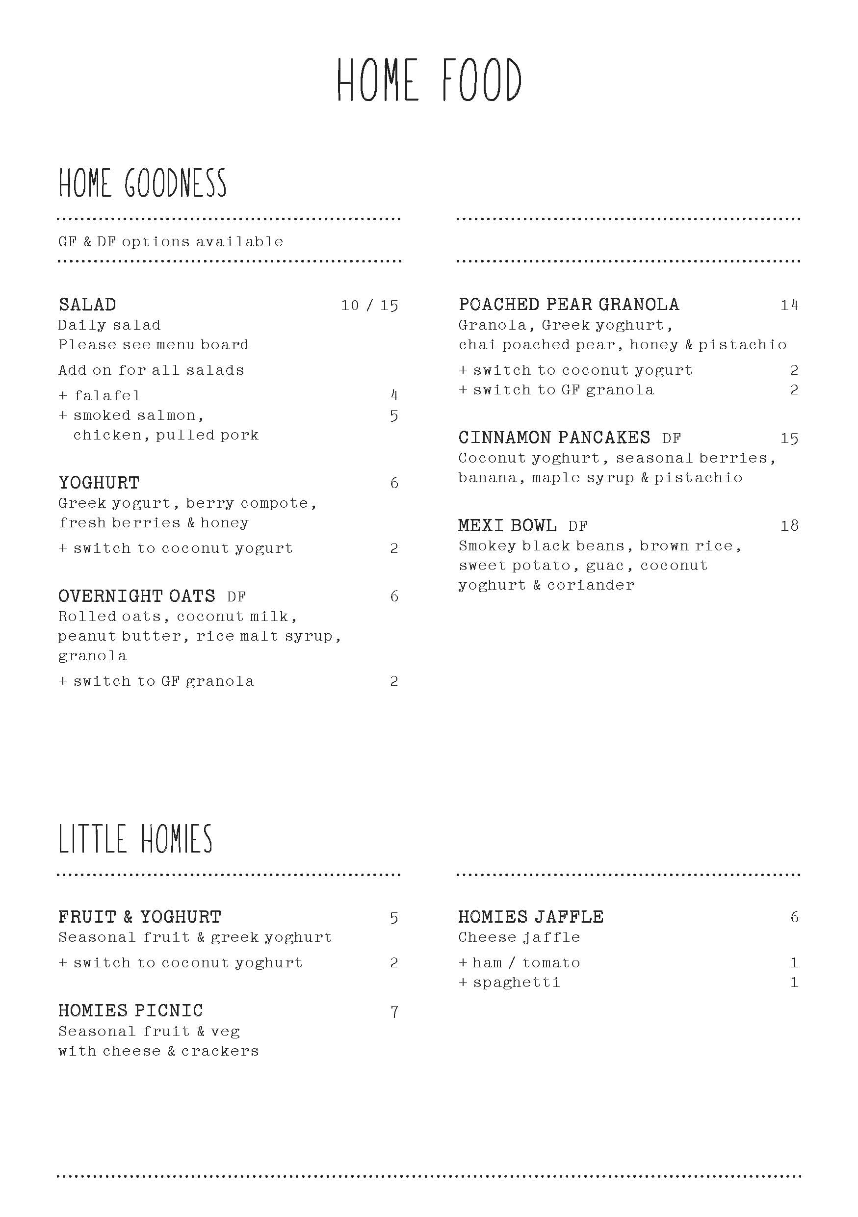 Home Specialty Coffee Menu April 2018 Page 4